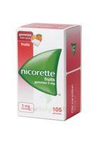 Nicorette 2 mg Gomme à mâcher médicamenteuse sans sucre fruits Plq/105 à POITIERS
